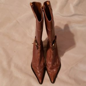STEVEN by Steve Madden Rust Leather Cowboy Boots